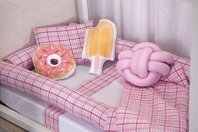 Kit de Mini Cama Montessoriano  Xadrez Rosa Doces 10 peças