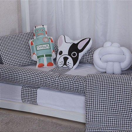Kit de Mini Cama Montessoriano  Xadrez Preto Buldog Robo 10 peças