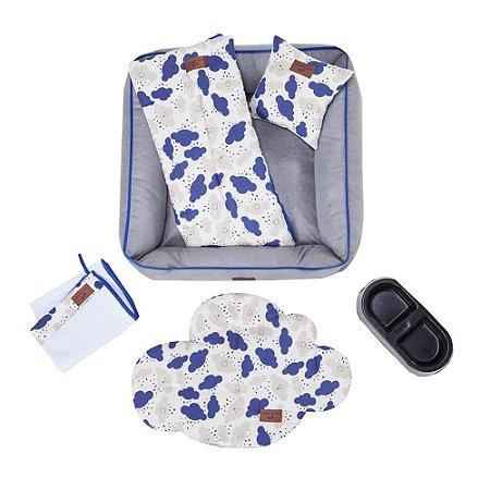 Kit Pet Cama Colchonete Toalha 6 Peças M Azul 60x60 Noblesse