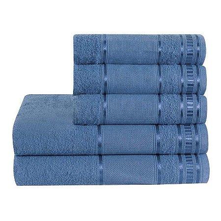Jogo De Toalha De Banho 5 Peças Linha Premium Azul Jeans