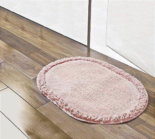 Tapete Oval Salmão 70cm x 52cm Para Banheiro