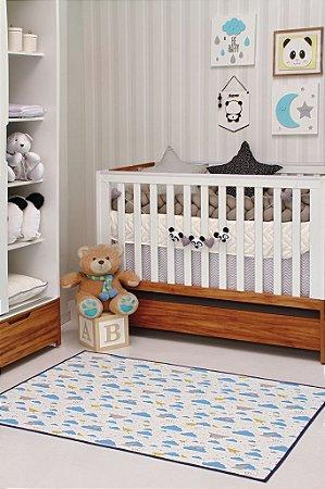 Tapete Kids Infantil Brilha No Escuro 1,0X1,40 Azul e Branco