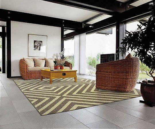 Tapete Marrom Sisal Bali 2x2,50 Perfil Baixo Base Confortex