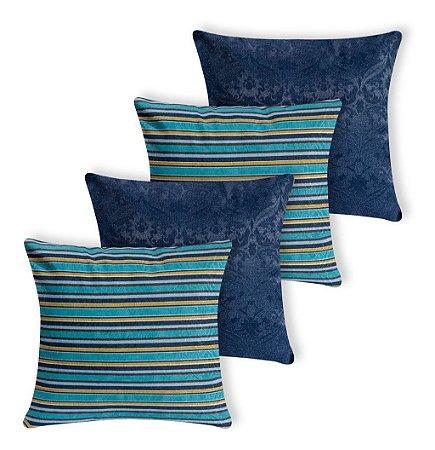 Kit 4 Almofadas Decorativas Listras E Azul Marinho Silicone