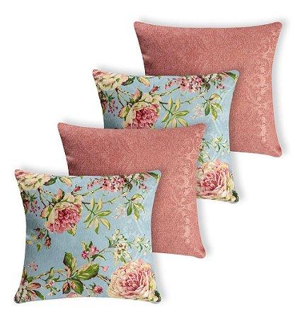 Kit 4 Almofadas Estampadas Floral Azul E Rosa Rosê Silicone