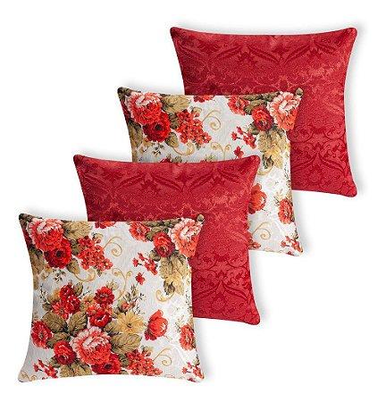 Kit 4 Almofadas Estampadas Floral E Lisa Vermelha Silicone