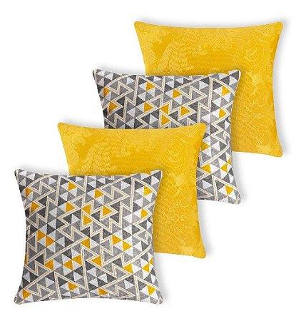 Kit 4 Almofadas Decorativas Amarela / Chevron Silicone