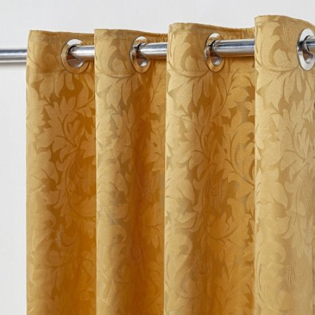 Cortina Em Tecido Jacquard 2,80 M X 1,60 M - Dourado