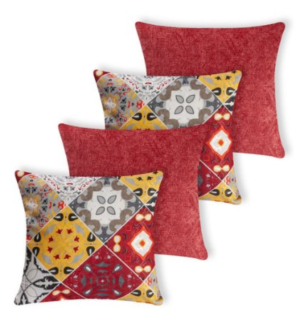 Kit 4 Capas Almofada Decorativa Jacquard Ladrilho Vermelha
