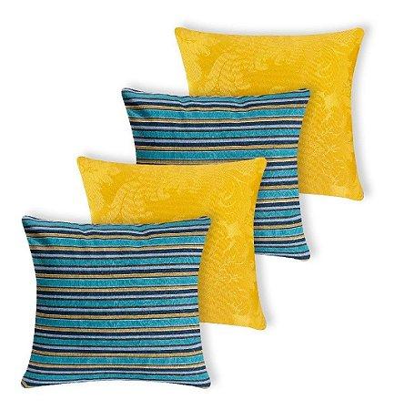 Kit 4 Capas De Almofada Decorativa Jacquard Azul E Amarelo