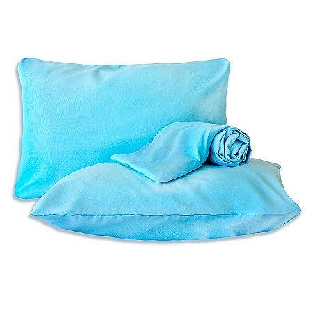 Jogo de lençol Azul Queen Classic Liso 3 Peças