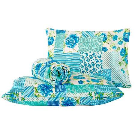 Jogo de lençol Classic 3 peças queen Patchwork azul