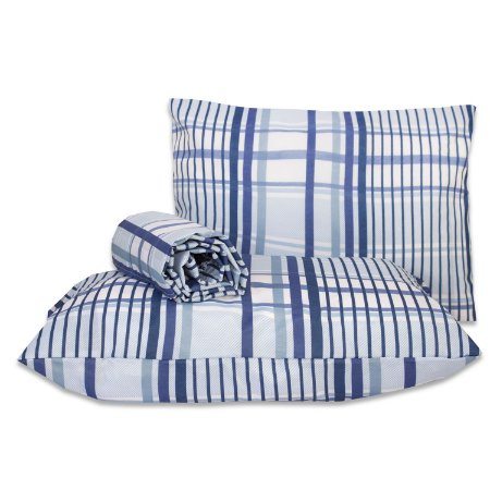 Jogo de lençol Classic 3 peças casal padrão Xadrez azul