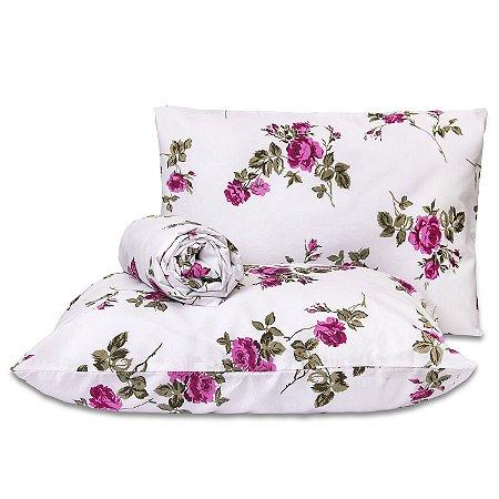 Jogo de lençol Classic 3 peças casal padrão Flores Pink