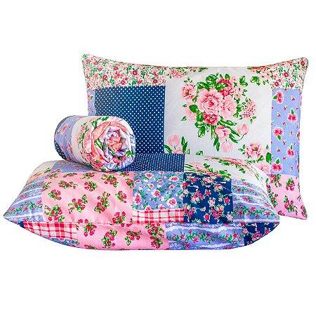 Jogo de lençol Classic 3 peças casal padrão Patchwork floral