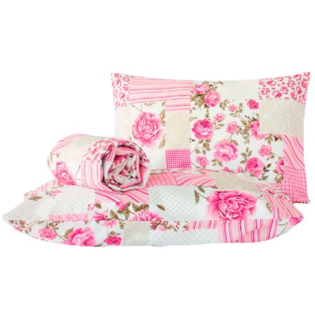 Jogo de lençol Classic 3 Peças Casal Padrão Patchwork Rosa