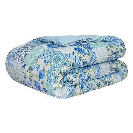 Edredom Algodão 160 Fios Classic Casal Queen Patchwork Azul