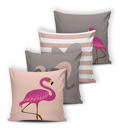 Kit 4 Capas De Almofadas 42x42 Modern Print Flamingo Cinza