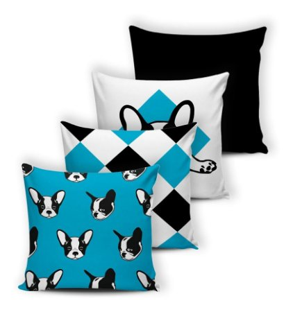 Kit 4 Capas De Almofadas 42x42 Modern Print Bulldog Azul