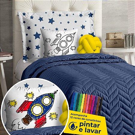 Cobre Leito Solteiro Infantil Azul DiverKids Para Pintar