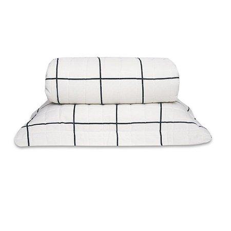 Cobre leito Classic Solteiro Grid Preto e Branco 2 Peças