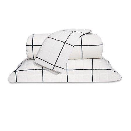 Cobre leito Casal Grid 160 Fios Classic 3 Pçs Preto e Branco
