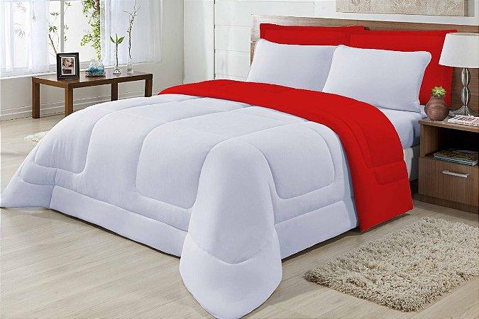 Edredom Casal Malha Algodão Dupla Face Vermelho E Branco