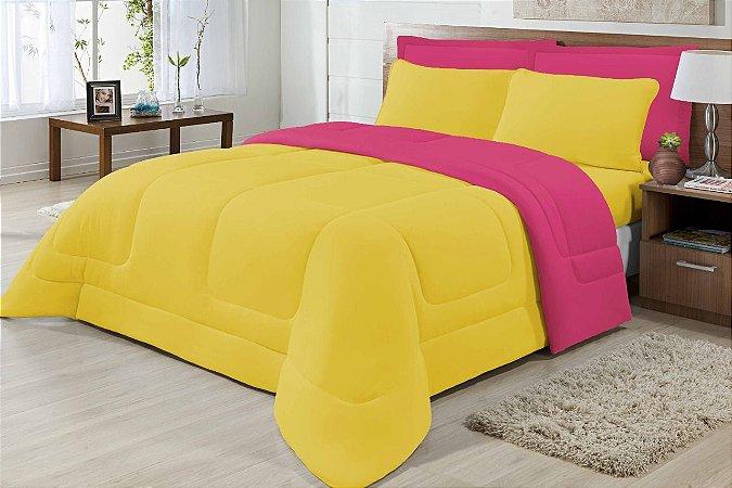 Edredom Casal Malha 100% Algodão Dupla Face Amarelo E Pink