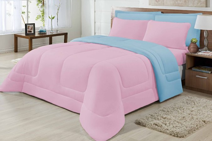 Edredom Casal Malha Algodão Dupla Face Rosa E Azul Claro