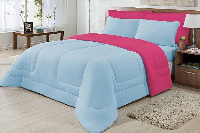 Edredom Queen Malha 100% Algodão Dupla Face Azul E Pink