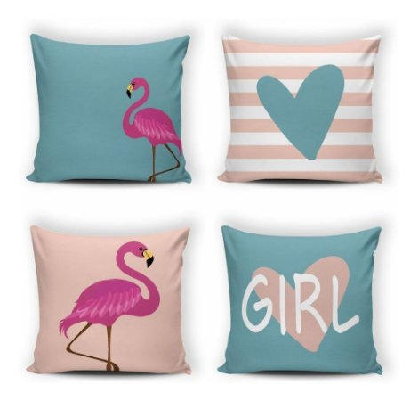 Kit 4 Capas Almofada Modern Print 42x42 Flamingo Rosa E Azul
