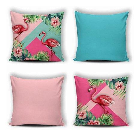 Kit 4 Capas De Almofada Modern Print 42x42 Flamingo Floral