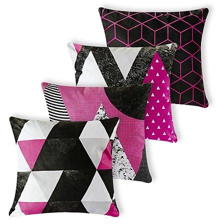 Kit 4 capas de Almofada Suede 40x40 Pink Geometrica Velvet