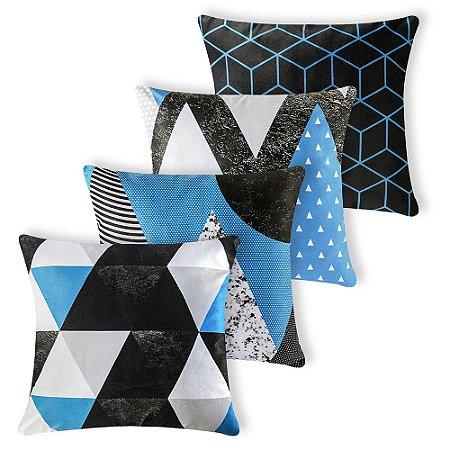 Kit 4 capas de Almofada Suede 40x40 Azul Tirquesa Velvet