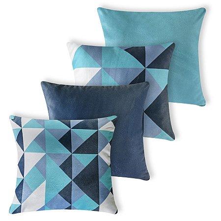 Kit 4 capas de Almofada Suede 40x40 Triangulos Azul Velvet