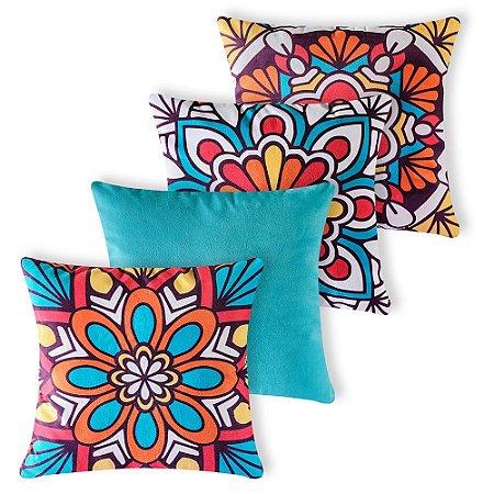 Kit 4 capas de Almofada Suede 40x40 Floral Turquesa Velvet