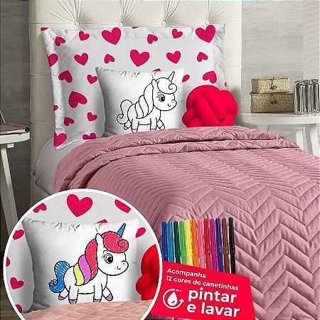 Cobre Leito DiverKids Solteiro Rosa Com Almofada de Colorir