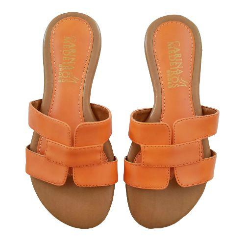 Sandália rasteira H - laranja