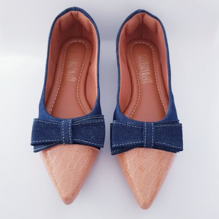 Sapatilha bico alongado - jeans com detalhes em croco caramelo