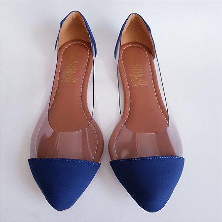 Sapatilha bico fino vinil transparente - azul