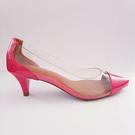 Scarpin salto 5 cm vinil transparente verniz - pink