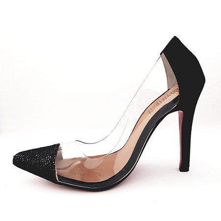 Scarpin salto 10 cm vinil transparente - preto glitter