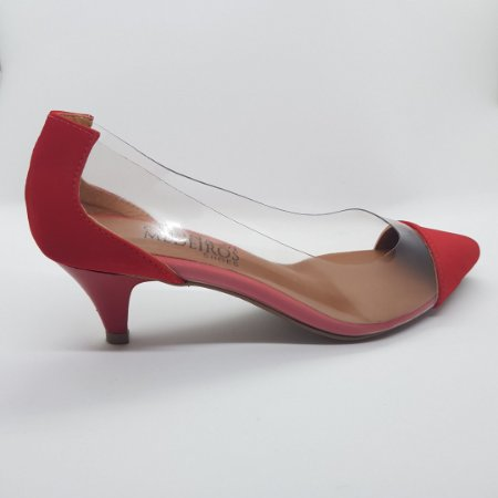Scarpin salto 5 cm vinil transparente nobuck vermelho