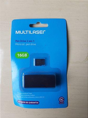 Cartão De Memória Multilaser 16 GB/64 GB 2 em 1 MC162