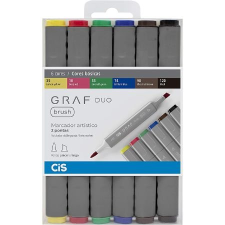 Marcador CIS Graf Duo Brush - 6 Cores Básicas