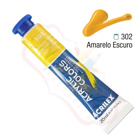 Tinta Acrílica Acrilex 20ml - Amarelo Escuro 302
