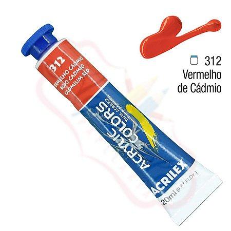 Tinta Acrílica Acrilex 20ml - Vermelho Cádmio 312