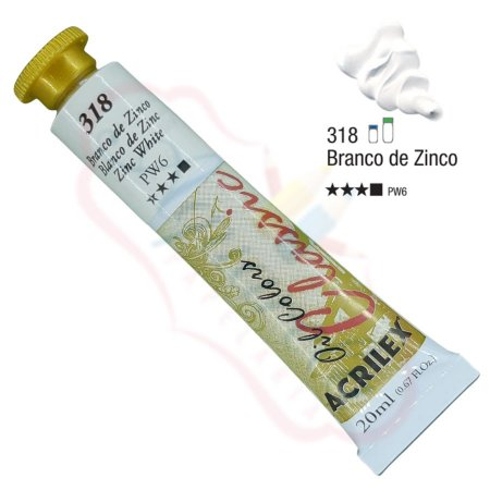 Tinta a óleo Acrilex Classic 20ml - Branco de Zinco 318