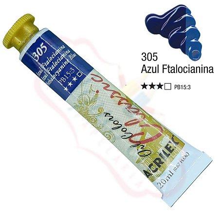 Tinta a óleo Acrilex Classic 20ml - Azul Ftalocianina 305