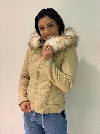 Jaqueta com capuz e pele alpelo